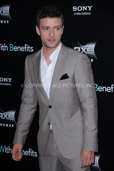 WWW.ACEPIXS.COM . . . . . .July 18, 2011...New York City...Justin Timberlake attends the 'Friends with Benefits' premiere at Ziegfeld Theater on July 18, 2011 in New York City.....Please byline: KRISTIN CALLAHAN - ACEPIXS.COM.. . . . . . ..Ace Pictures, Inc: ..tel: (212) 243 8787 or (646) 769 0430..e-mail: info@acepixs.com..web: http://www.acepixs.com .
