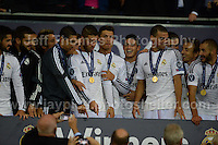 Cardiff City Stadium, Cardiff, South Wales - Tuesday 12th Aug 2014 - UEFA Super Cup Final - Real Madrid v Sevilla - <br /> <br /> The victorious Real Madrid players. <br /> <br /> <br /> <br /> <br /> Photo by Jeff Thomas/Jeff Thomas Photography