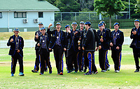 The CBHS team celebrates after the 2017 the Secondary School Boys' First XI Cup national cricket finals presentations at Fitzherbert Park in Palmerston North, New Zealand on Friday, 8 December 2017. Photo: Dave Lintott / lintottphoto.co.nz