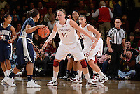 STANFORD, CA - DECEMBER 28: Kayla Pedersen (14) and Jeanette Pohlen (23) of Stanford women's basketball on defense in a game against Xavier on December 28, 2010 at Maples Pavilion in Stanford, California.  Stanford topped Xavier, 89-52.