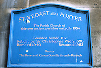 Sir Christopher Wren: Plaque, St. Vedast, Foster Lane, City 1670-73.