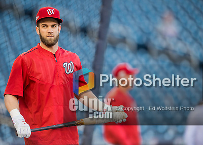 13 October 2016: Washington Nationals outfielder Bryce Harper awaits his turn in the batting cage prior to Game 5 of the NLDS against the Los Angeles Dodgers at Nationals Park in Washington, DC. The Dodgers edged out the Nationals 4-3, to take Game 5 of the Series, 3 games to 2, and move on to the National League Championship Series against the Chicago Cubs. Mandatory Credit: Ed Wolfstein Photo *** RAW (NEF) Image File Available ***
