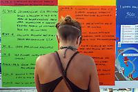 Puglia, Salento, Manifestazione del comitato NO TAP a San Foca dove dovrebbe arrivare il gasdotto dall'Azerbaigian. Cartelli contro la realizzazione della TAP, Trans Adriatic Pipeline<br /> Apulia, Salento, Protest of the NO TAP committee in  San Foca where the pipeline from Azerbaijan should arrive. Placards against the realization of the TAP, Trans Adriatic Pipeline