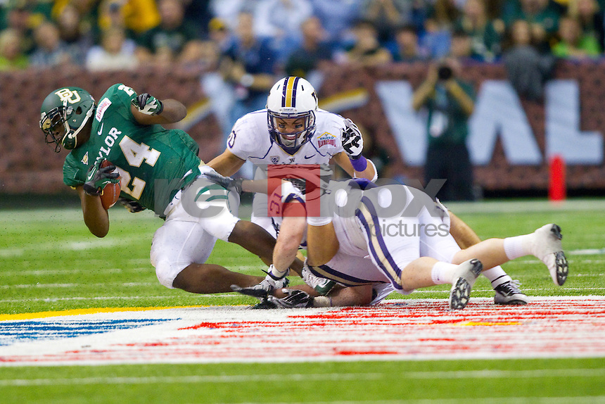 Justin Glenn, Cort Dennison. The University of Washington Huskies lost to the Baylor University Bears 67-56 in the Valero Alamo Bowl at the Alamodome in San Antonio, Texas on Thursday December 29, 2011.(Photography By Scott Eklund/Red Box Pictures)