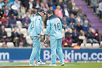 Eoin Morgan (England) checks with Jason Roy (England) who leaves the field immediately during England vs West Indies, ICC World Cup Cricket at the Hampshire Bowl on 14th June 2019