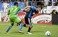 Bobby Convey (right) and Sanna Nyassi (left) battle for the ball. The Seattle Sounders defeated the San Jose Earthquakes 1-0 in the second annual Heritage Cup at Buckshaw Stadium in Santa Clara, California on July 31st, 2010.