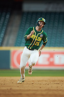 Andy Thomas (25) of the Baylor Bears hustles towards third base against the LSU Tigers in game five of the 2020 Shriners Hospitals for Children College Classic at Minute Maid Park on February 28, 2020 in Houston, Texas. The Bears defeated the Tigers 6-4. (Brian Westerholt/Four Seam Images)