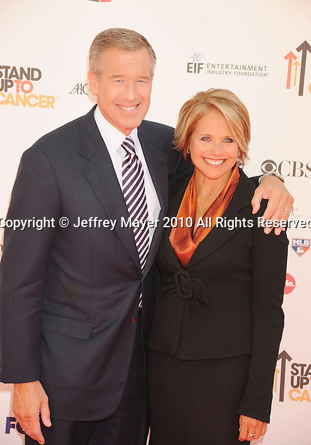CULVER CITY, CA. - September 10: Brian Williams and Katie Couric arrive at Stand Up To Cancer at Sony Pictures Studios on September 10, 2010 in Culver City, California.
