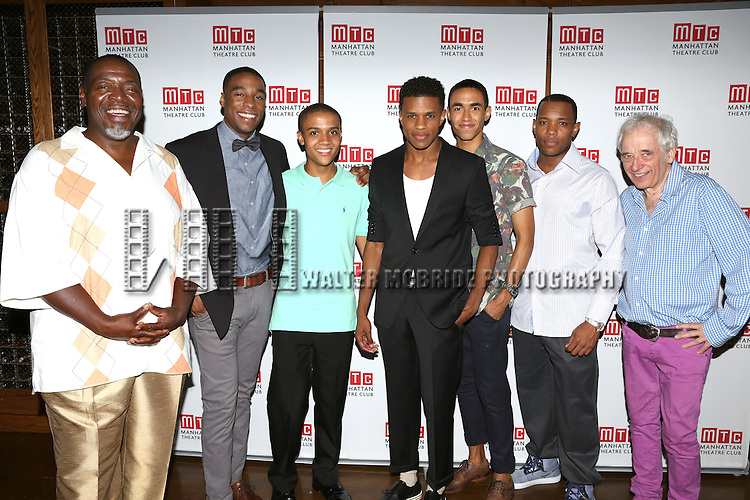 Chuck Cooper, Grantham Coleman, Nicholas L. Ashe, Jeremy Pope, Kyle Beltran, Wallace Smith and Austin Pendleton attending the Opening Night Celebration for the MTC American Premiere of 'Choir Boy' at Inside Park at St. Bart's on July 2, 2013 in New York City.