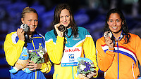 100 freestyle women<br /> SJOSTROM Sarah, Sweden SWE, silver medal<br /> CAMPBELL Cate, Australia AUS, gold medal<br /> KROMOWIDJOJO Ranomi, Netherlands NED, bronze medal<br /> Swimming - Nuoto <br /> Barcellona 02/8/2013 Palau St Jordi <br /> Barcelona 2013 15 Fina World Championships Aquatics <br /> Foto Andrea Staccioli Insidefoto