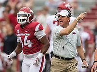 Hawgs Illustrated/BEN GOFF <br /> Chad Morris, Arkansas head coach, reacts in the second quarter Saturday, April 6, 2019, during the Arkansas Red-White game at Reynolds Razorback Stadium.