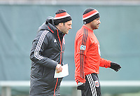 Ben Olsen Head Coach of D.C. United with forward Carlos Ruiz (20) at the pre-season practice on the auxiliary fields at RFK Stadium, Thursday February 28, 2013.