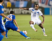 CARSON, CA – June 6, 2011: Honduras player Brayan Beckeles (24) attempts to make a move past Guatemala player Jairo Arreola (23)  during the match between Guatemala and Honduras at the Home Depot Center in Carson, California. Final score Guatemala 0, Honduras 0.