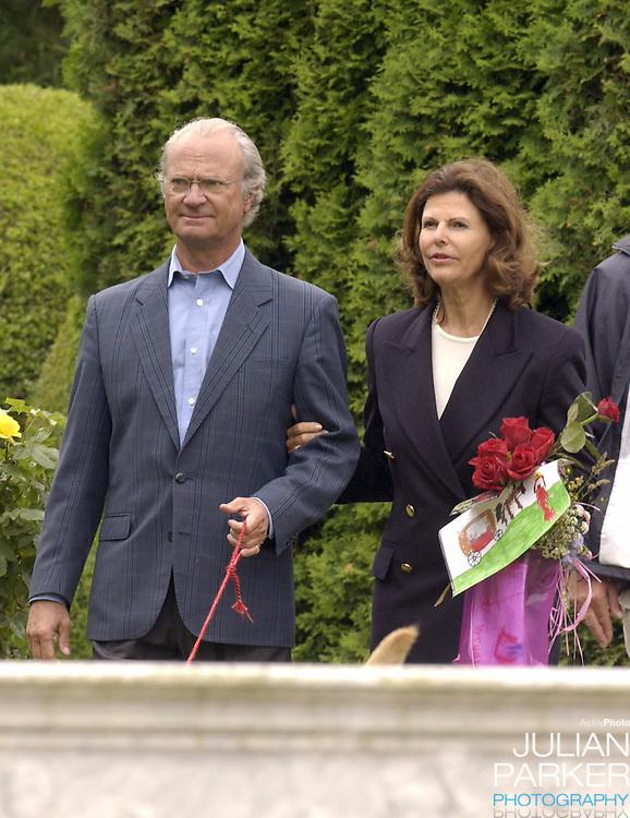 Crown Princess Victoria of Sweden celebrates her 27th birthday at Solliden, near Borgholm, accompanied by King Carl Gustav, Queen Silvia & dog Bingo..