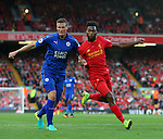 Robert Huth of Leicester City  and Daniel Sturridge of Liverpool during the Premier League match at Anfield Stadium, Liverpool. Picture date: September 10th, 2016. Pic Simon Bellis/Sportimage