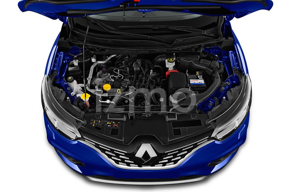 Car stock 2019 Renault Kadjar Black-Edition 5 Door SUV engine high angle detail view