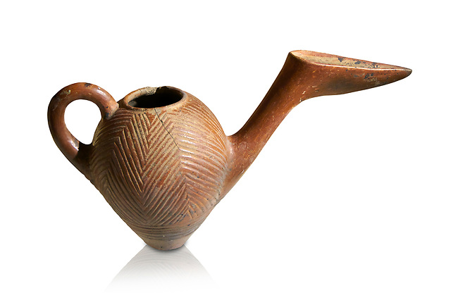 Bronze Age Anatolian terra cotta side spouted pitcher with bill shaped end - 19th to 17th century BC - Kültepe Kanesh - Museum of Anatolian Civilisations, Ankara, Turkey. Against a white background.