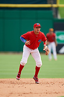 Clearwater Threshers shortstop Emmanuel Marrero (33) during the first game of a doubleheader against the Lakeland Flying Tigers on June 14, 2017 at Spectrum Field in Clearwater, Florida.  Lakeland defeated Clearwater 5-1.  (Mike Janes/Four Seam Images)