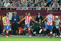 BUKARESZT 09.05.2012.MECZ FINAL LIGA EUROPY SEZON 2011/12: ATLETICO MADRYT - ATHLETIC BILBAO --- UEFA EUROPA LEAGUE FINAL 2012 IN BUCHAREST: CLUB ATLETICO DE MADRID - ATHLETIC CLUB DE BILBAO.JUANFRAN  FALCAO  MIRANDA.FOT. PIOTR KUCZA.---.Newspix.pl
