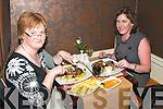 Staek Night : Enjoying their stakes  at the Horseshoe Bar Steak Special  during The Listowel Food Fair on Saturday night were Bernie Daly, Listowel & Enda Hanrahan, Ballylongford.