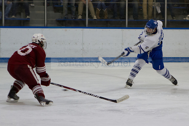 Jeremy Schmidt (A) takes a shot on goal during the UK vs Alabama Hockey Match in Lexington, Ky., on Saturday, October 20, 2012. Photo by Matt Burns | Staff