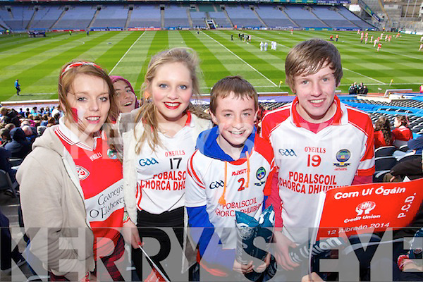 Dingle fans supporting Pobailscoil Chorcha Dhuibhna at the Hogan Cup final on Saturday in Croke Park were l-r: Rebecca Kane, Ciara O'Shea, Ruaidhrí Ó Beaglaoich, and Liam Bambury.