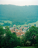 – SWITZERLAND, Couvet, elevated hillside view of the town of Couvet, Jura Region
