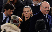 Calcio, Serie A: Roma vs Juventus. Roma, stadio Olimpico, 2 marzo 2015.<br /> From left, Juventus' president Andrea Agnelli, his wife Emma Winter and CEO Giuseppe Marotta arrive for the Italian Serie A football match between AS Roma and Juventus at Rome's Olympic stadium, 2 March 2015.<br /> UPDATE IMAGES PRESS/Isabella Bonotto