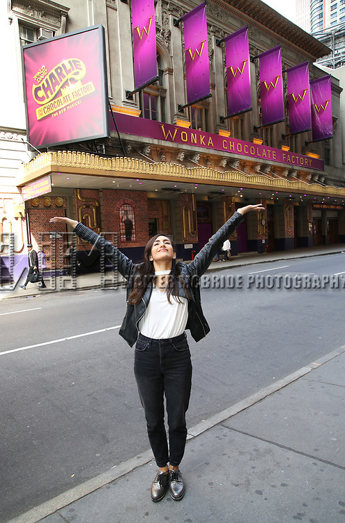 Yesenia Ayala during her Broadway Debut photo shoot for 'Charlie and the Chocolate Factory'  in Times Square on May 21, 2017 in New York City.