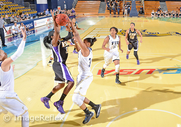 Florida International University forward/center Brianna Wright (33) plays against East Carolina University. FIU won the game 76-75 in overtime on January 11, 2014 at Miami, Florida.