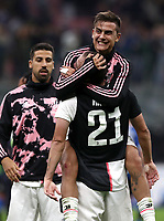 Calcio, Serie A: Inter Milano - Juventus, Giuseppe Meazza stadium, October 6 2019.<br /> Juventus' Gonzalo Higuain (bottom) and Paulo Dybala (top) celebrate after winning 2-1  the Italian Serie A football match between Inter and Juventus at Giuseppe Meazza (San Siro) stadium, October 6, 2019.<br /> UPDATE IMAGES PRESS/Isabella Bonotto
