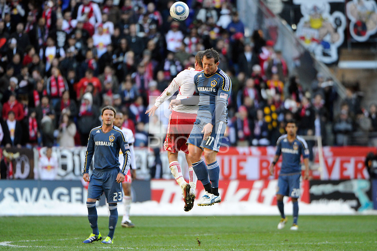 Chad Barrett (11) of the Los Angeles Galaxy during the 1st leg of the Major League Soccer (MLS) Western Conference Semifinals against the New York Red Bulls at Red Bull Arena in Harrison, NJ, on October 30, 2011.