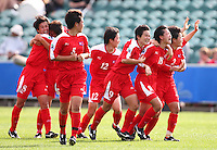 Korea DPR players celebrate a goal. USA v Korea Republic. FIFA U-17 Women's World Cup Final. North Harbour Stadium, Auckland, Sunday 16 October 2008. Photo: Simon Watts/PHOTOSPORT
