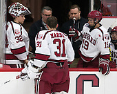 Cameron Gornet (Harvard - 32), John O'Donnell (Harvard - Equipment Manager), Merrick Madsen (Harvard - 31), Jake Horton (Harvard - 19) - The Harvard University Crimson defeated the visiting Cornell University Big Red on Saturday, November 5, 2016, at the Bright-Landry Hockey Center in Boston, Massachusetts.