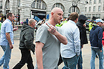 © Joel Goodman - 07973 332324 - all rights reserved . 13/09/2009 . London , UK . A man with an England tattoo on his hand at a March for England rally at Piccadilly Circus in Central London . Photo credit : Joel Goodman