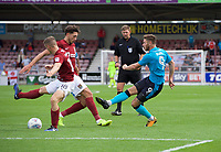 Wes Burns of Fleetwood Town has a shot on goal during the Sky Bet League 1 match between Northampton Town and Fleetwood Town at Sixfields Stadium, Northampton, England on 12 August 2017. Photo by Alan  Stanford / PRiME Media Images.