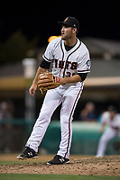 Modesto Nuts starting pitcher John Richy (31) follows through on his delivery during a California League game against the Lake Elsinore Storm at John Thurman Field on May 12, 2018 in Modesto, California. Lake Elsinore defeated Modesto 4-1. (Zachary Lucy/Four Seam Images)