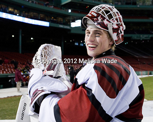 Connor Riley (Harvard - 1) - The Union College Dutchmen defeated the Harvard University Crimson 2-0 on Friday, January 13, 2012, at Fenway Park in Boston, Massachusetts.