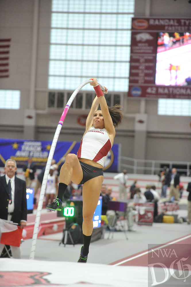 NWA Democrat-Gazette/MICHAEL WOODS &bull; @NWAMICHAELW<br /> Athletes compete Saturday, February 27, 2016 at the 2016 SEC Indoor Track and Field Championship at the Randal Tyson Track Center in Fayetteville.  To see more photos from this event visit nwadg.com/photos