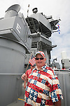 Dickie Simmons, Deputy to LA County Supervisor Don Knabe, in patriotic attire for the final voyage of the battleship USS Iowa from Berth 51 to its new home at Berth 87 in San Pedro, Los Angeles, CA where it opens as a museum ship in July 2012.