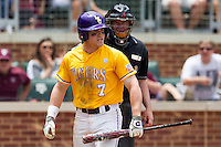 LSU Tigers designated hitter Sean McMullen (7) yells a the umpire after striking out against the Texas A&M Aggies in the NCAA Southeastern Conference baseball game on May 11, 2013 at Blue Bell Park in College Station, Texas. LSU defeated Texas A&M 2-1 in extra innings to capture the SEC West Championship. (Andrew Woolley/Four Seam Images).