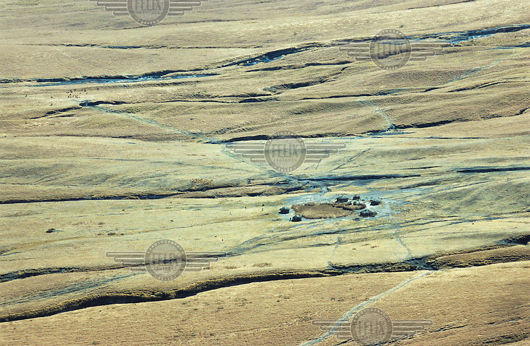 Maasai village in the African Rift Valley in the Crater Highlands region, along the East African rift in Tanzania.