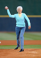 April 9, 2009: Helene Dal Canton, widow of longtime pitching coach Bruce Dal Canton, throws out the first pitch in pregame ceremonies  at BB&T Coastal Field in Myrtle Beach, S.C. Dal Canton died last year of cancer. Photo by:  Tom Priddy/Four Seam Images