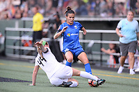 Seattle, WA - Saturday June 24, 2017: Carson Pickett, Maegan Kelly during a regular season National Women's Soccer League (NWSL) match between the Seattle Reign FC and FC Kansas City at Memorial Stadium.