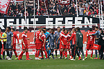 14.04.2019, Merkur Spielarena, Duesseldorf , GER, 1. FBL,  Fortuna Duesseldorf vs. FC Bayern Muenchen,<br />  <br /> DFL regulations prohibit any use of photographs as image sequences and/or quasi-video<br /> <br /> im Bild / picture shows: <br /> die Mannschaften verabschieden sich voneinander<br /> <br /> Foto &copy; nordphoto / Meuter