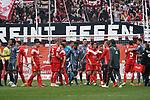 14.04.2019, Merkur Spielarena, Duesseldorf , GER, 1. FBL,  Fortuna Duesseldorf vs. FC Bayern Muenchen,<br />  <br /> DFL regulations prohibit any use of photographs as image sequences and/or quasi-video<br /> <br /> im Bild / picture shows: <br /> die Mannschaften verabschieden sich voneinander<br /> <br /> Foto © nordphoto / Meuter