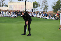 Jamie Donaldson (WAL) takes his putt at the 18th green during Sunday's Final Round of the 2014 BMW Masters held at Lake Malaren, Shanghai, China. 2nd November 2014.<br /> Picture: Eoin Clarke www.golffile.ie