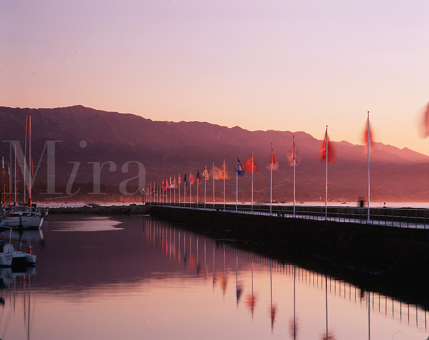 Flag Project - a breakwater at Santa Barbara Harbor. California.