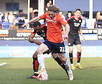 Craig MacKail-Smith of Luton Town holds the ball up during the Sky Bet League 2 match between Luton Town and Crawley Town at Kenilworth Road, Luton, England on 12 March 2016. Photo by Liam Smith.