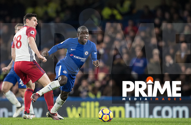Ngolo Kante of Chelsea during the Premier League match between Chelsea and West Bromwich Albion at Stamford Bridge, London, England on 12 February 2018. Photo by Andy Rowland.
